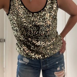 Gold Sequence Tank Top